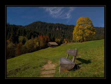 Bänke in der Landschaft