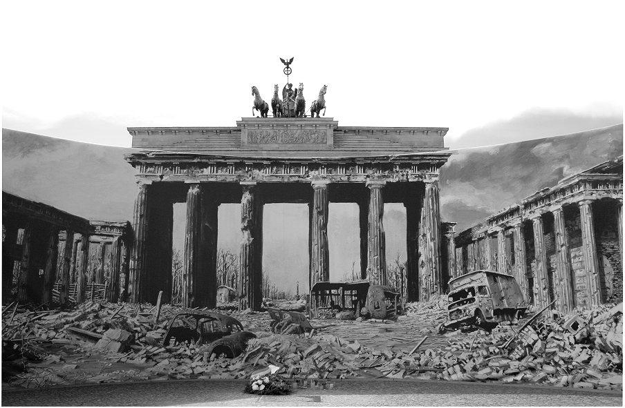1945 schutt und tr mmer am brandenburger tor foto bild deutschland europe berlin bilder. Black Bedroom Furniture Sets. Home Design Ideas