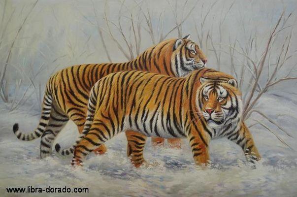 2 Tiger im Schnee (Handgemaltes Ölgemälde)