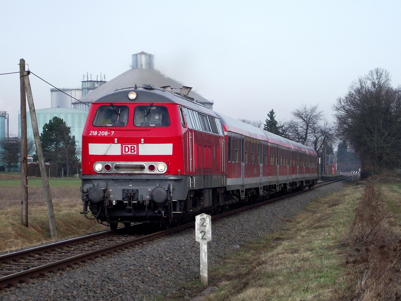 218 208 auf der RB23 / Abschnitt Erfttalbahn südlich des Hp Zuckerfabrik