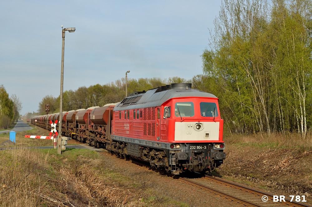 232 904 gestern mit einem vollen Zug auf der Anschlussbahn