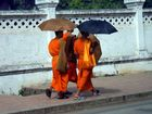 3 monks under their umbrella