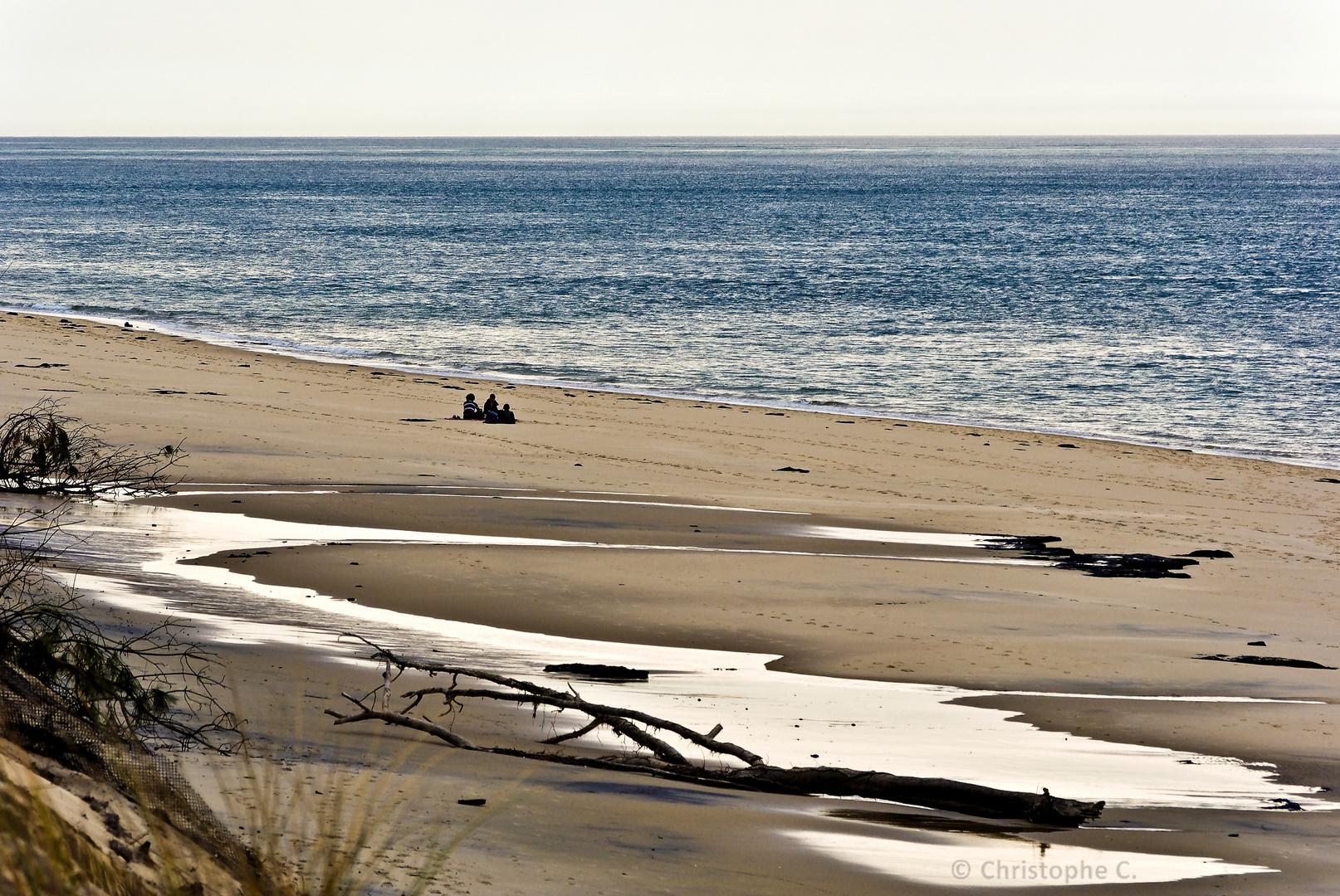 3 pélerins sur la plage !!!