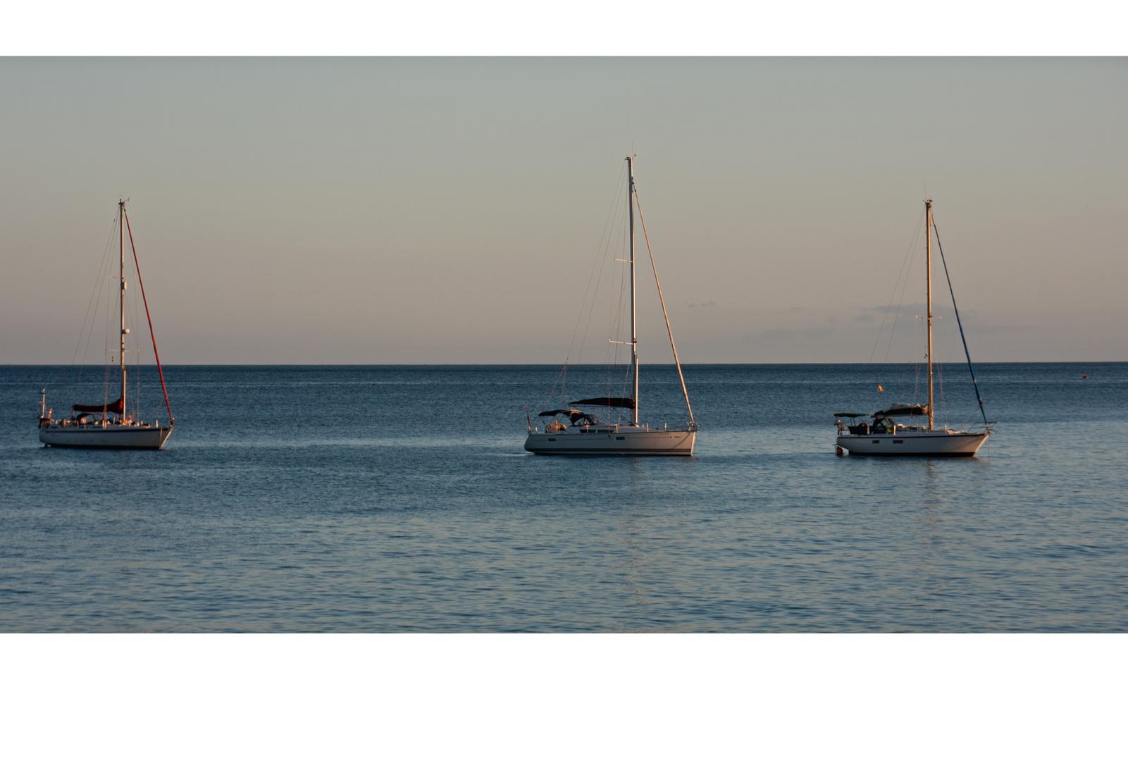 3 Schiffe in der Abendsonne