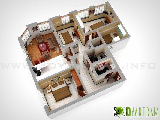 3D soggiorno e camera da letto Floor Plan Design Studio