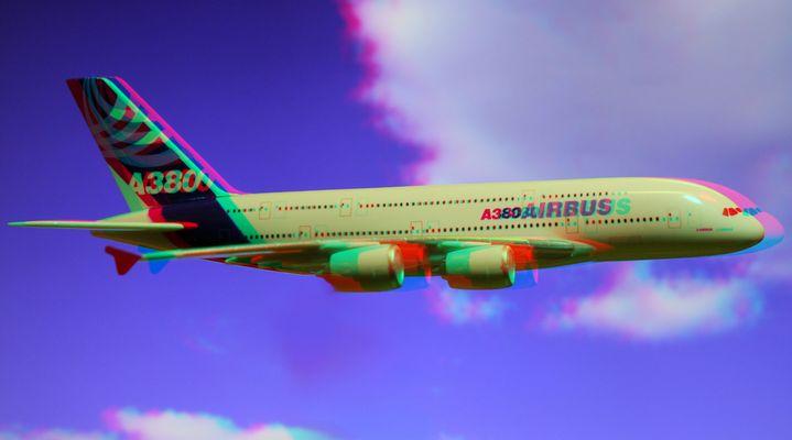 3D_Airbus A 380 im Flug.