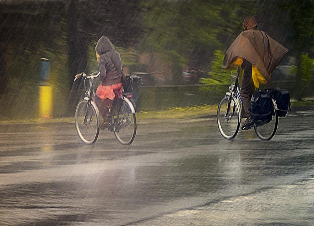 A vélo sous la pluie de Odette LEFEBVRE