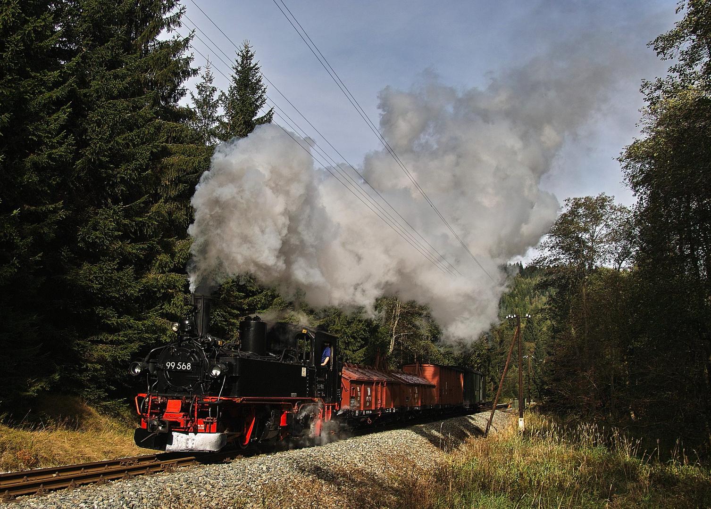 99 568 mit Güterzug ...