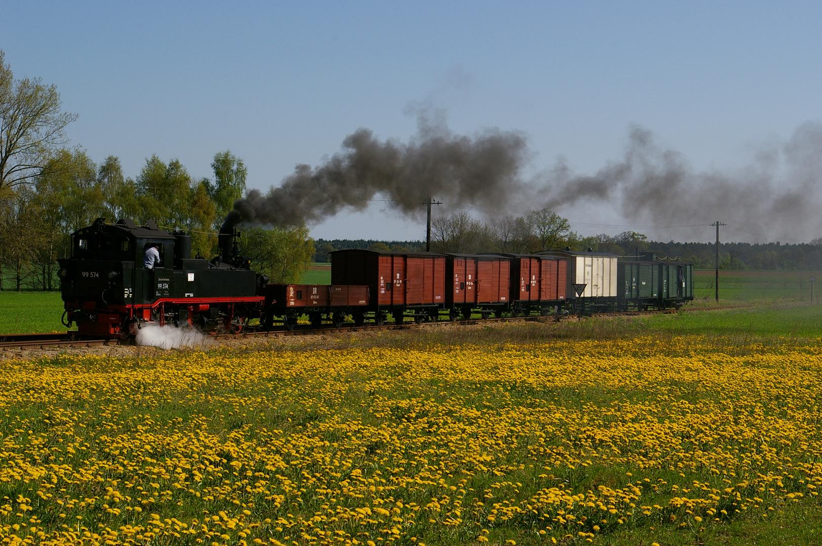 99 574 mit einem GmP kurz vor dem Bhf. Lindenberg/Prig. am 02.05.08