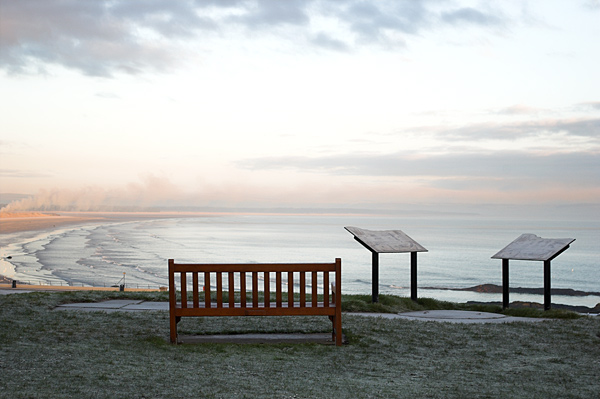 A cold winter morning by the sea