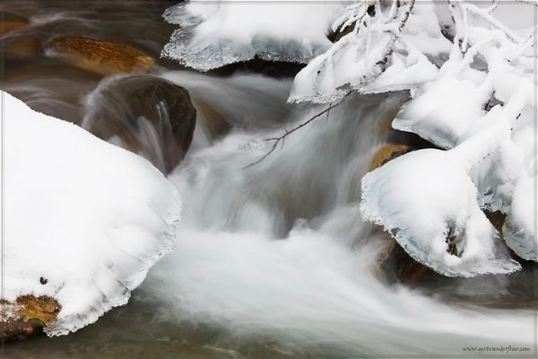 A detail of an icy mountain stream