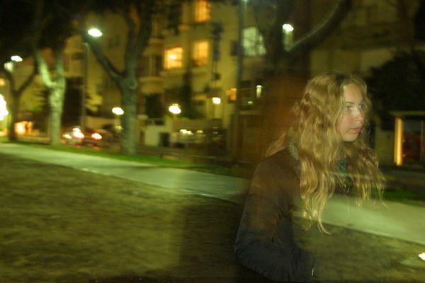 a girl at night