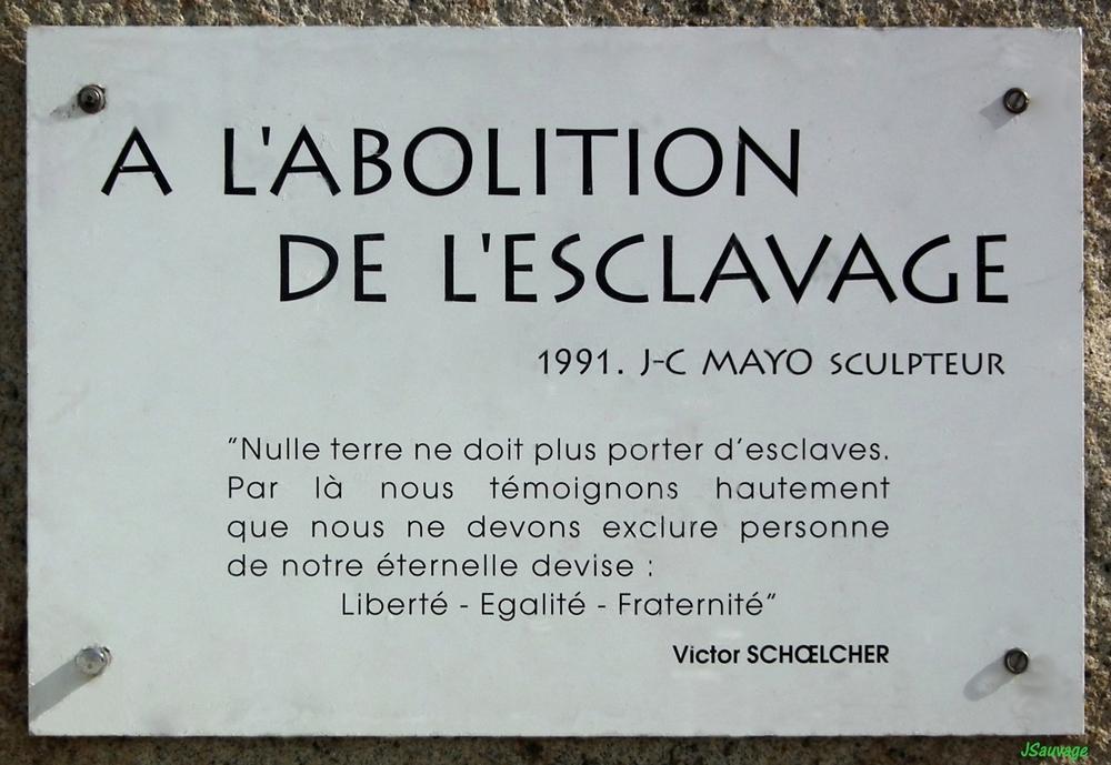 A l'abolition de l'esclavage.