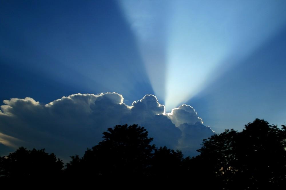A light in the blue sky