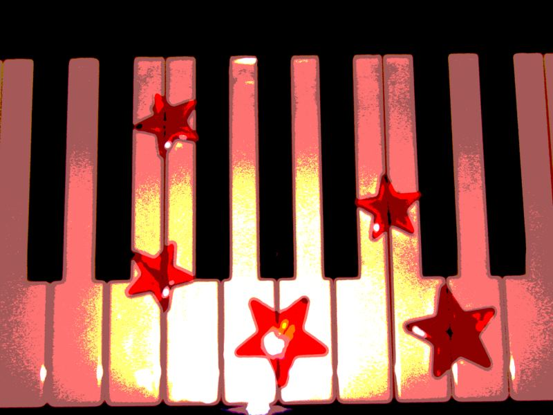 a noise of the piano is like the sound of a burning star which falls into a lake of clear cold water