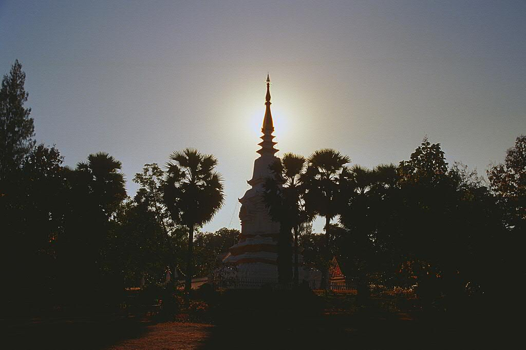 A stupa in the sunset