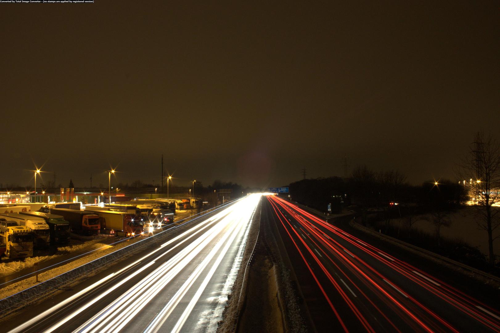 A2-Bottrop bei Nacht