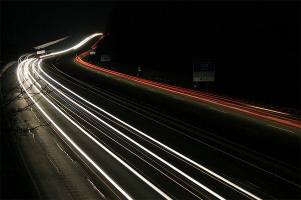 A3 im Westerwald bei Nacht