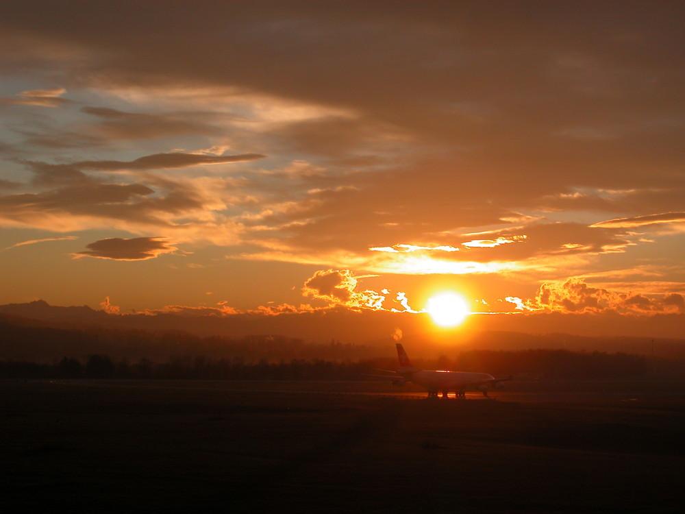 A340 am frühen Morgen