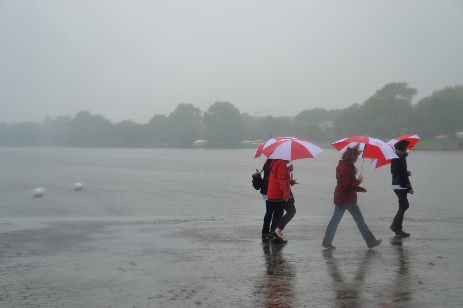 Aasee bei Regen