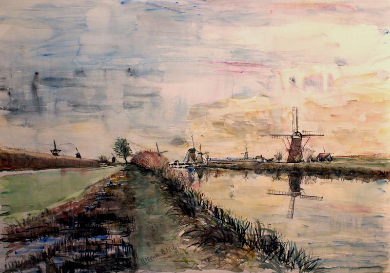 Abend im Windmühlenland