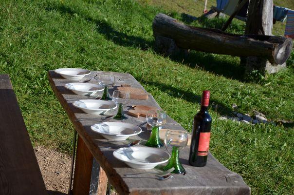 Abendessen in den Bergen