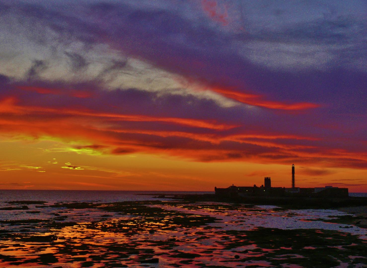 Abendhimmel in Cádiz
