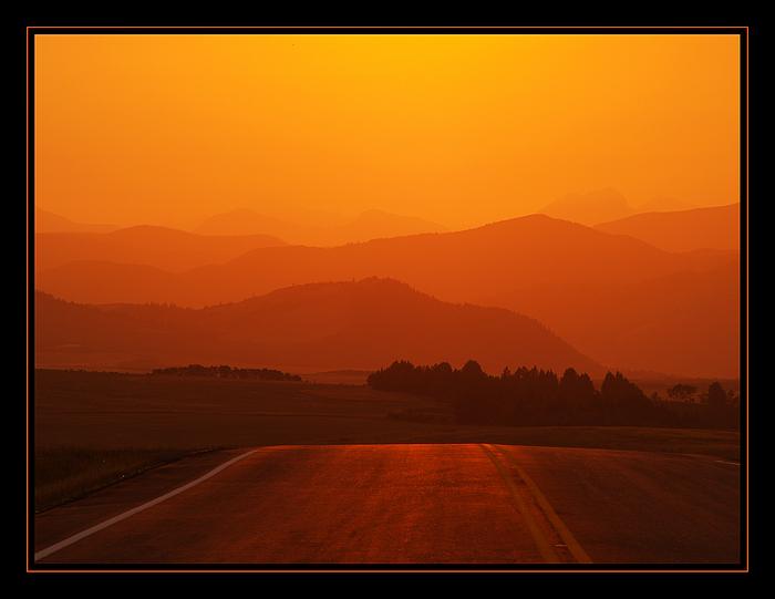 Abends auf dem Highway