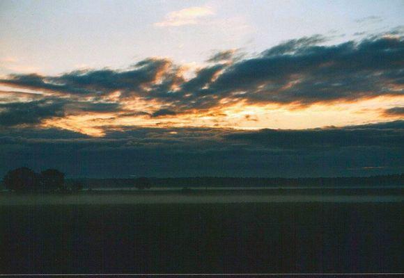 Abends der Sonnenuntergang
