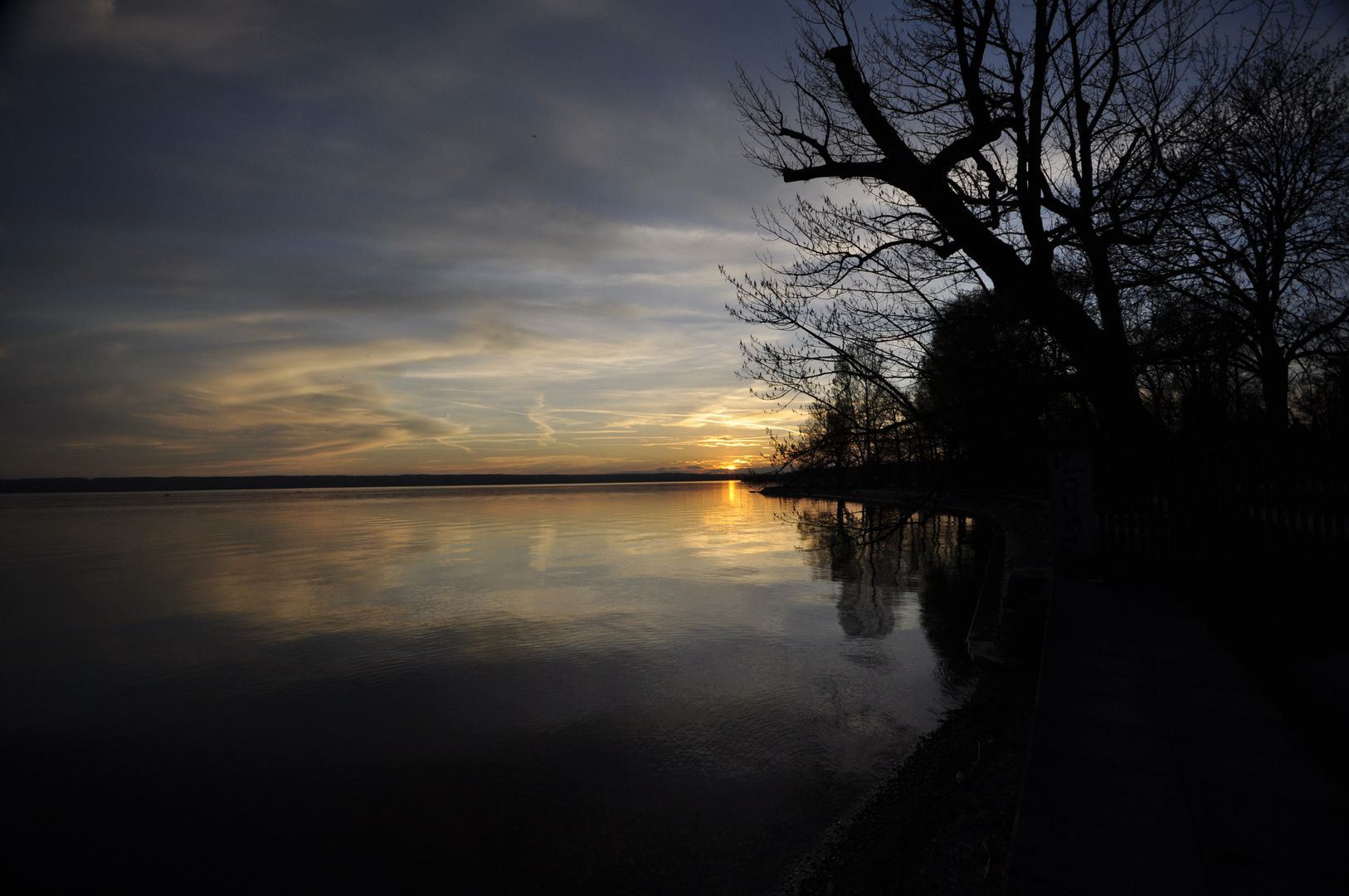 Abendstimmung am Ammersee zum Sonnenuntergang