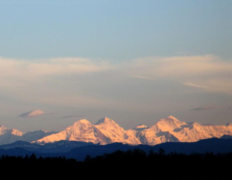 Abendstimmung am Eiger, Mönch und Jungfrau
