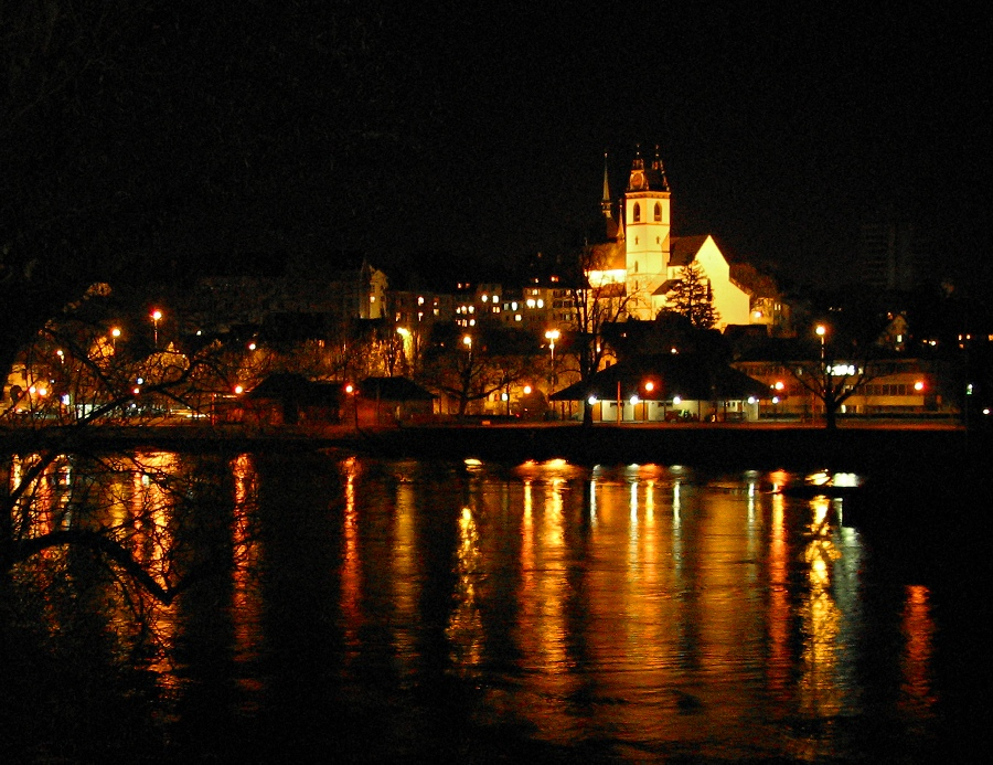 Abendstimmung an der Aare bei Aarau / Schweiz