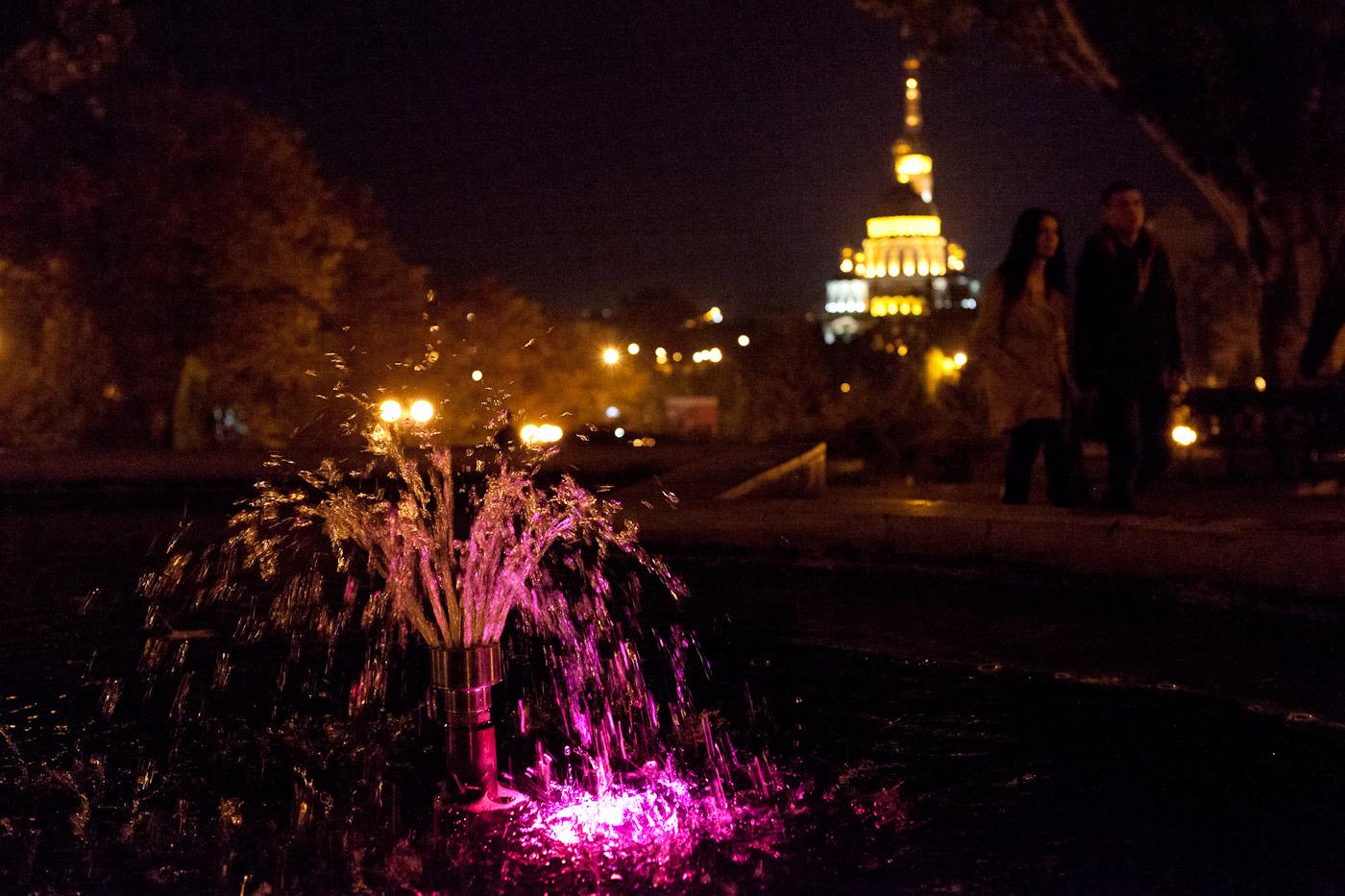 Abendstimmung in Kharkiv - mit Springbrunnen