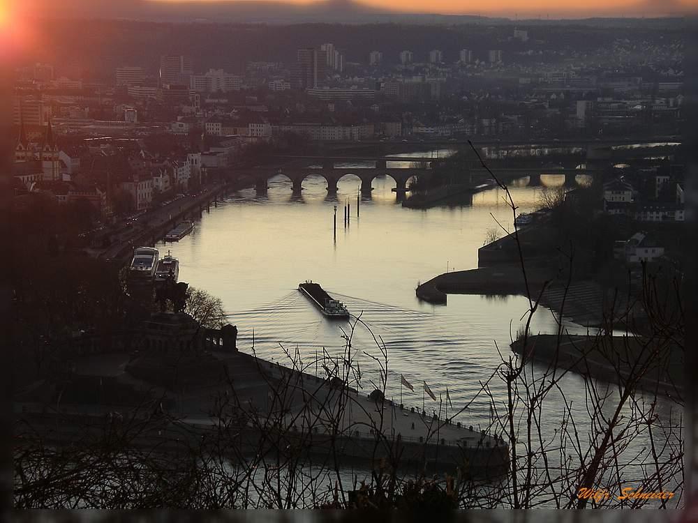 Abendstimmung in Koblenz am Deutschen Eck