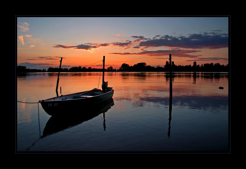 Abendstimmung mit Boot