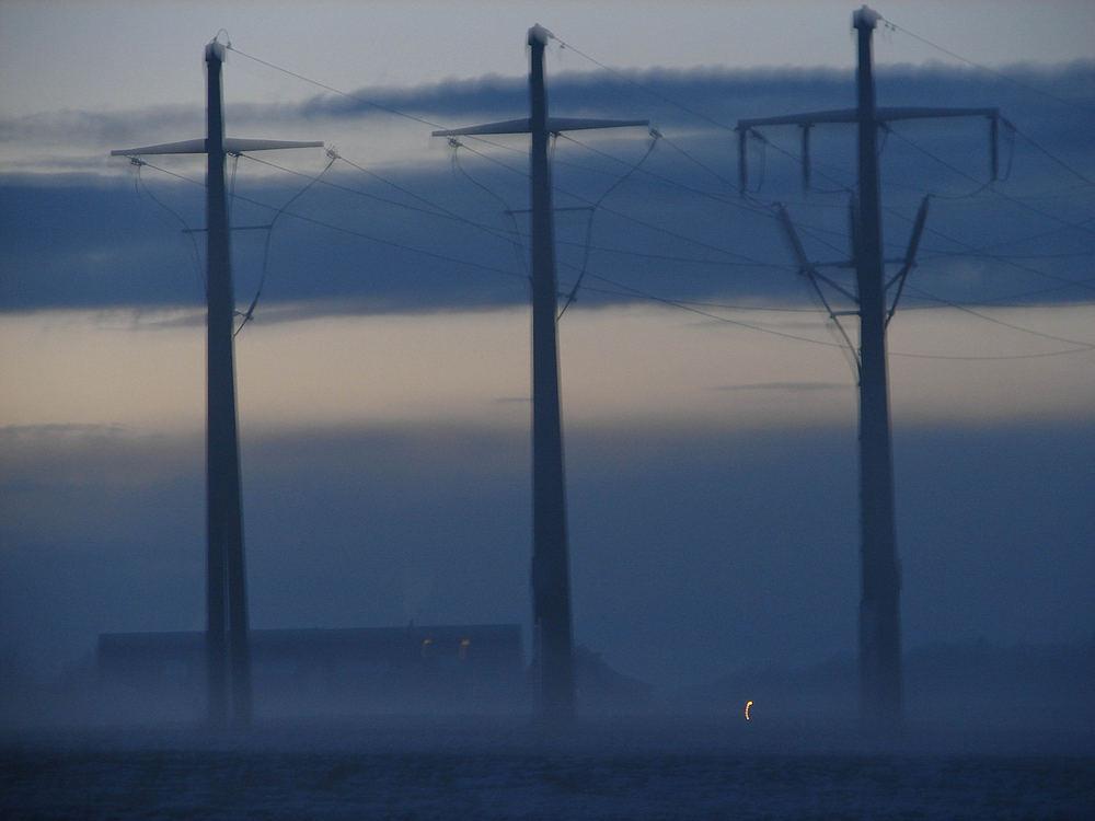 Abendstimmung , umgeben von Nebel