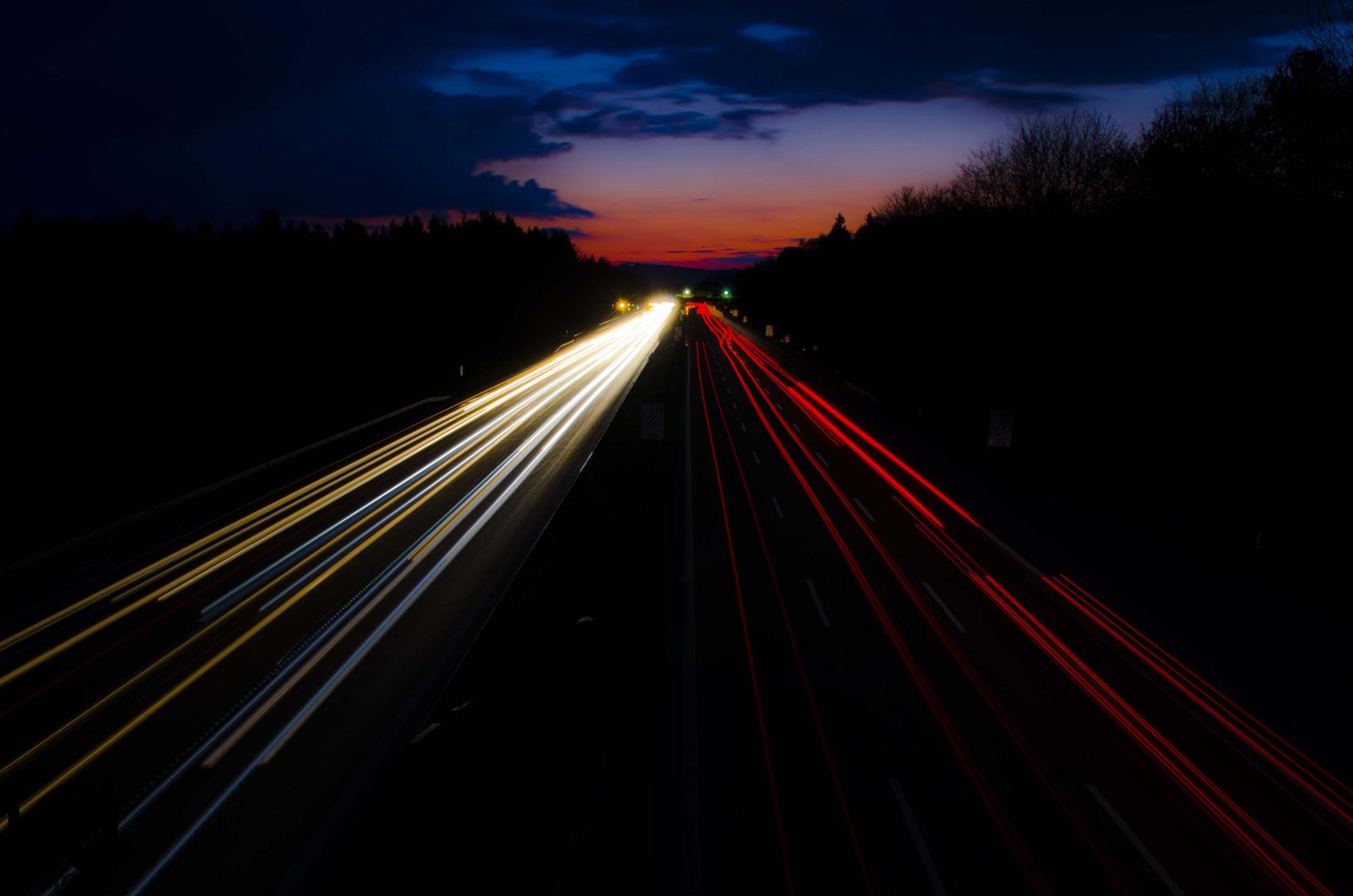 Abendverkehr A8 richtung München