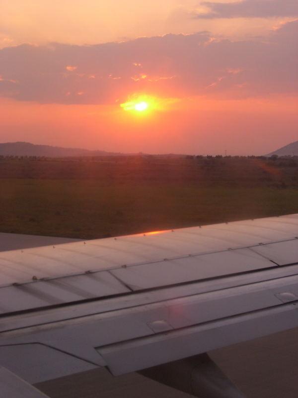 Abflug beim Sonnenaufgang