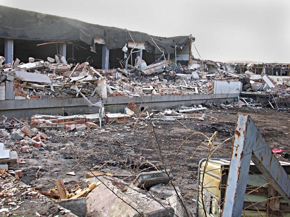 Abriss, alte Gardinenfabrik II, ehemalige Gebäudefront
