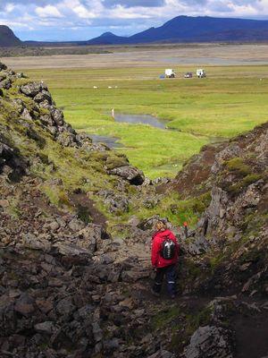 Abstieg vom Lavastrom bei Landmannlaugar