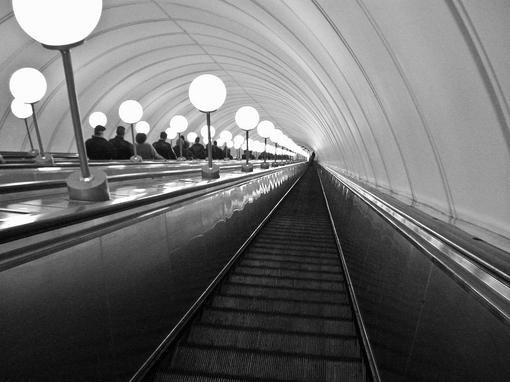 Abwärts in der Moskauer U-Bahn