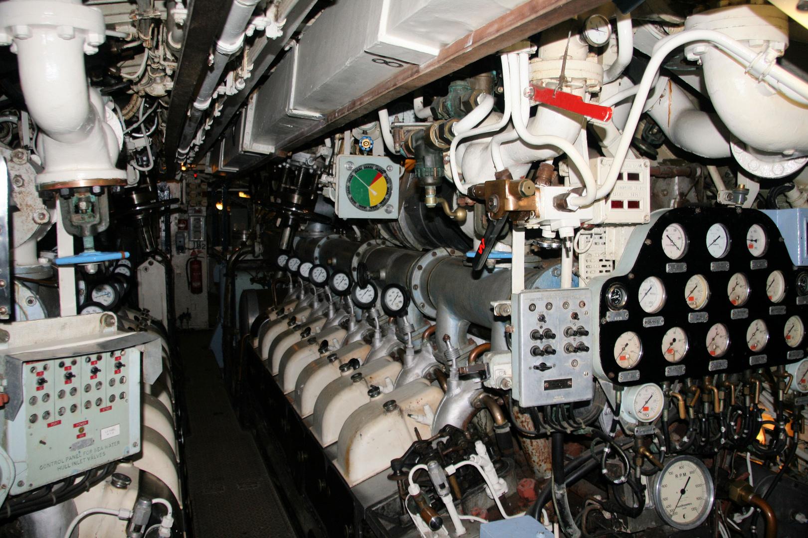 Achtern im Maschinenraum