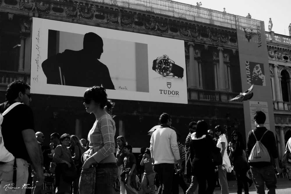 Advertising and People in Piazza San Marco