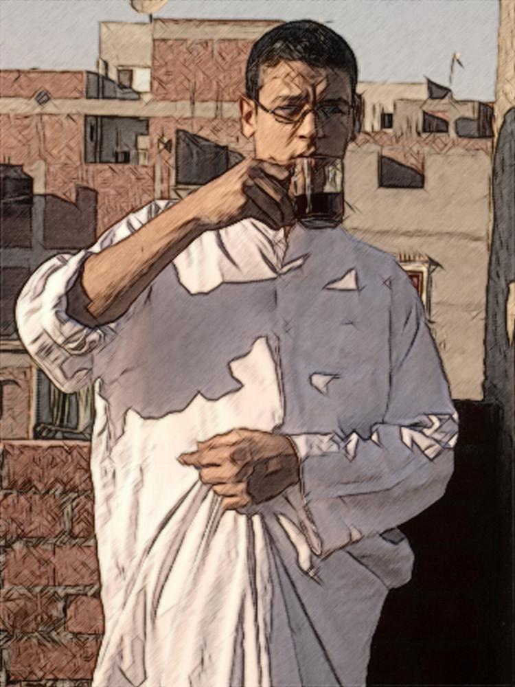 Ägyptischer Mann in seinem Haus