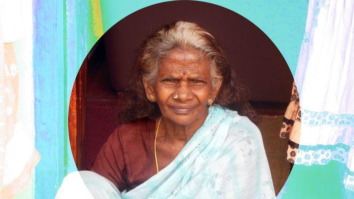 ältere Hindu-Dame in Sri Lanka