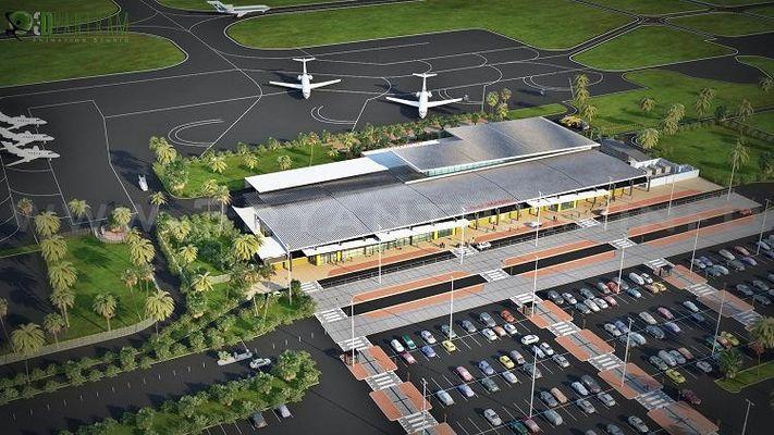 Aeroporto di progettazione 3D di rendering esterni