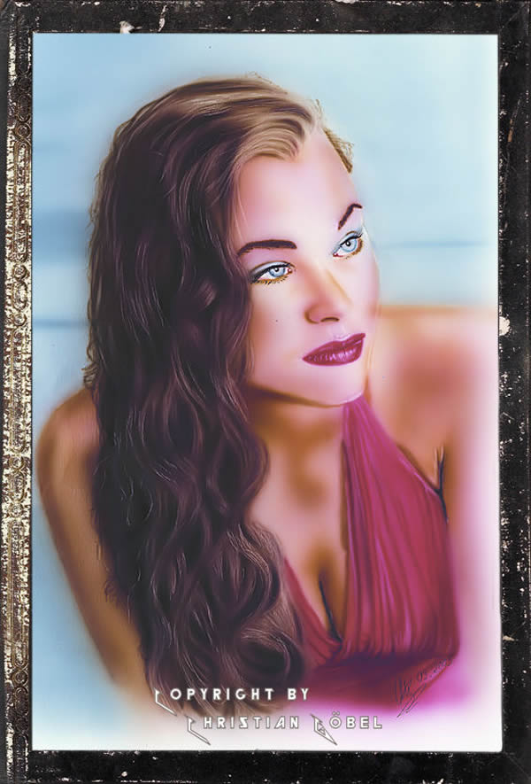 Airbrush Portrait Red Woman