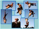 Akrobatik auf der Laterne