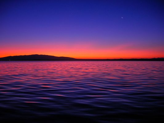 Alba con riflesso viola sul mare e luna crescente in cielo