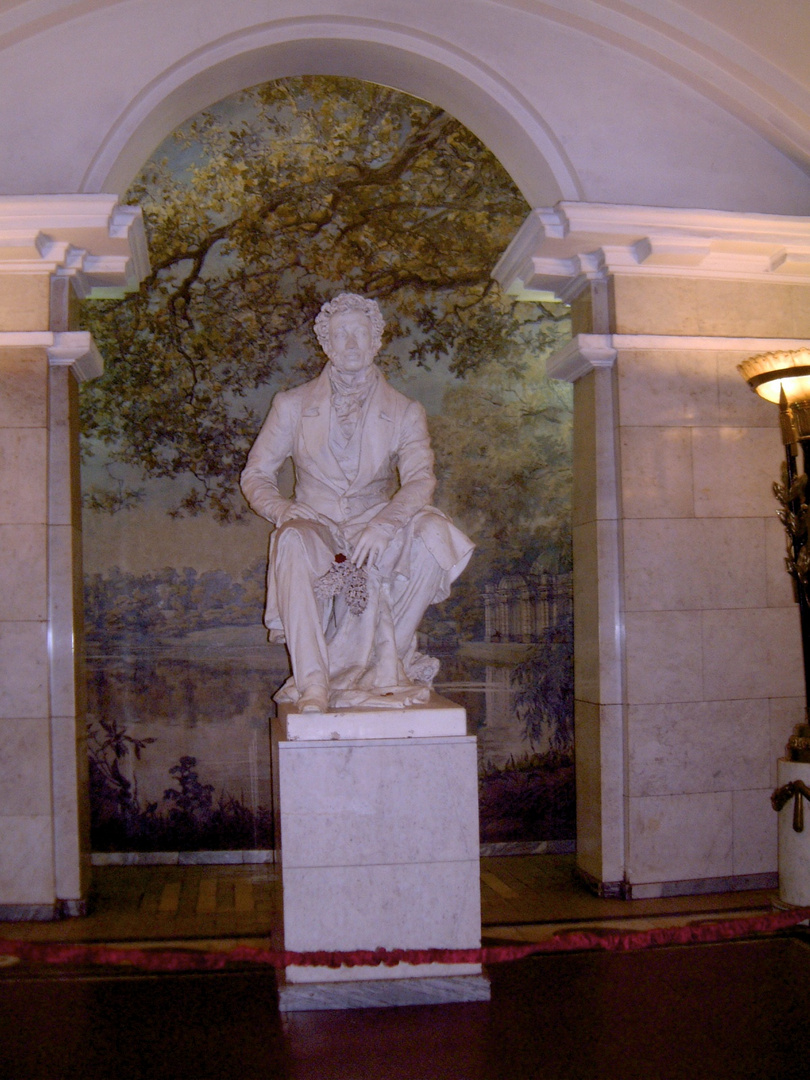 Alexander Pushkins Monument inside Pushkin Metro Station